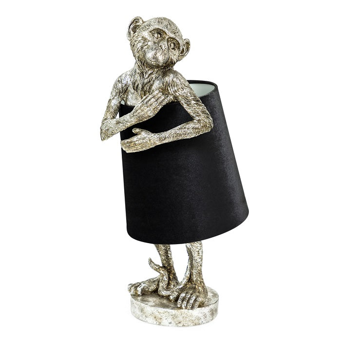 Antique Silver Bashful Monkey Table Lamp Silver & Black Velvet Shade