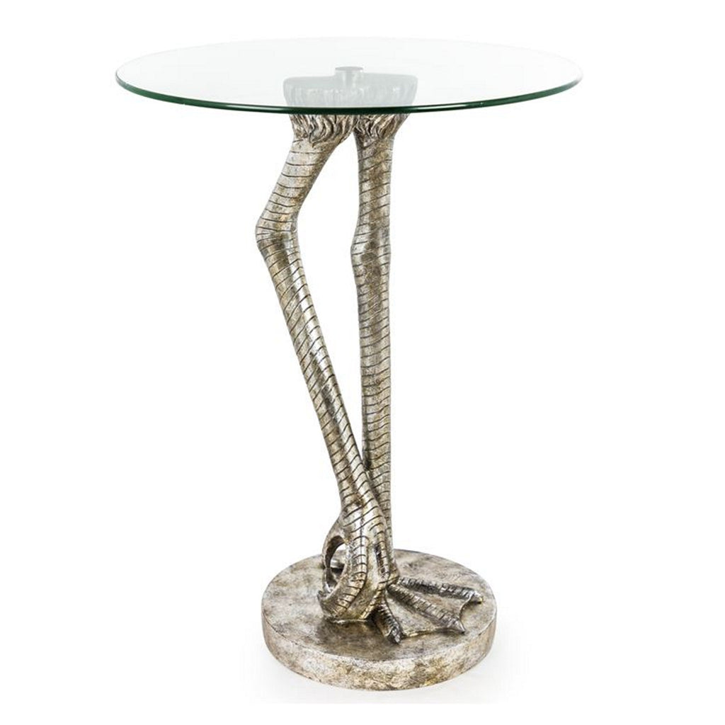 Antiqued Bird Leg Side Table with Glass Top
