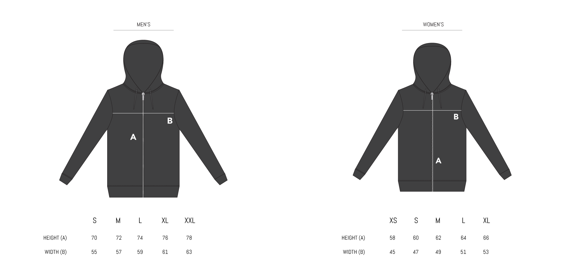 Hoodies and Sweaters Size Chart