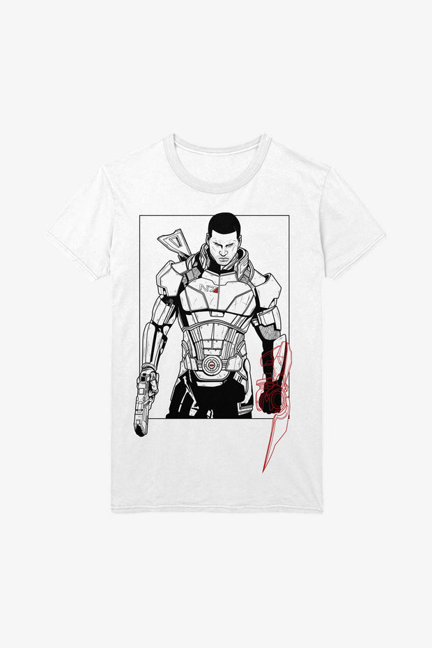 Mass Effect Commander Shepard Illustration T-shirt