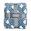 Blue and Gray Quatrefoil Throw Blanket