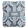 Blue and Gray Floral Damask Throw Blanket