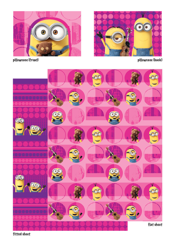 Despicable Me Minions Twin Bed Sheet Set Pink Buddy
