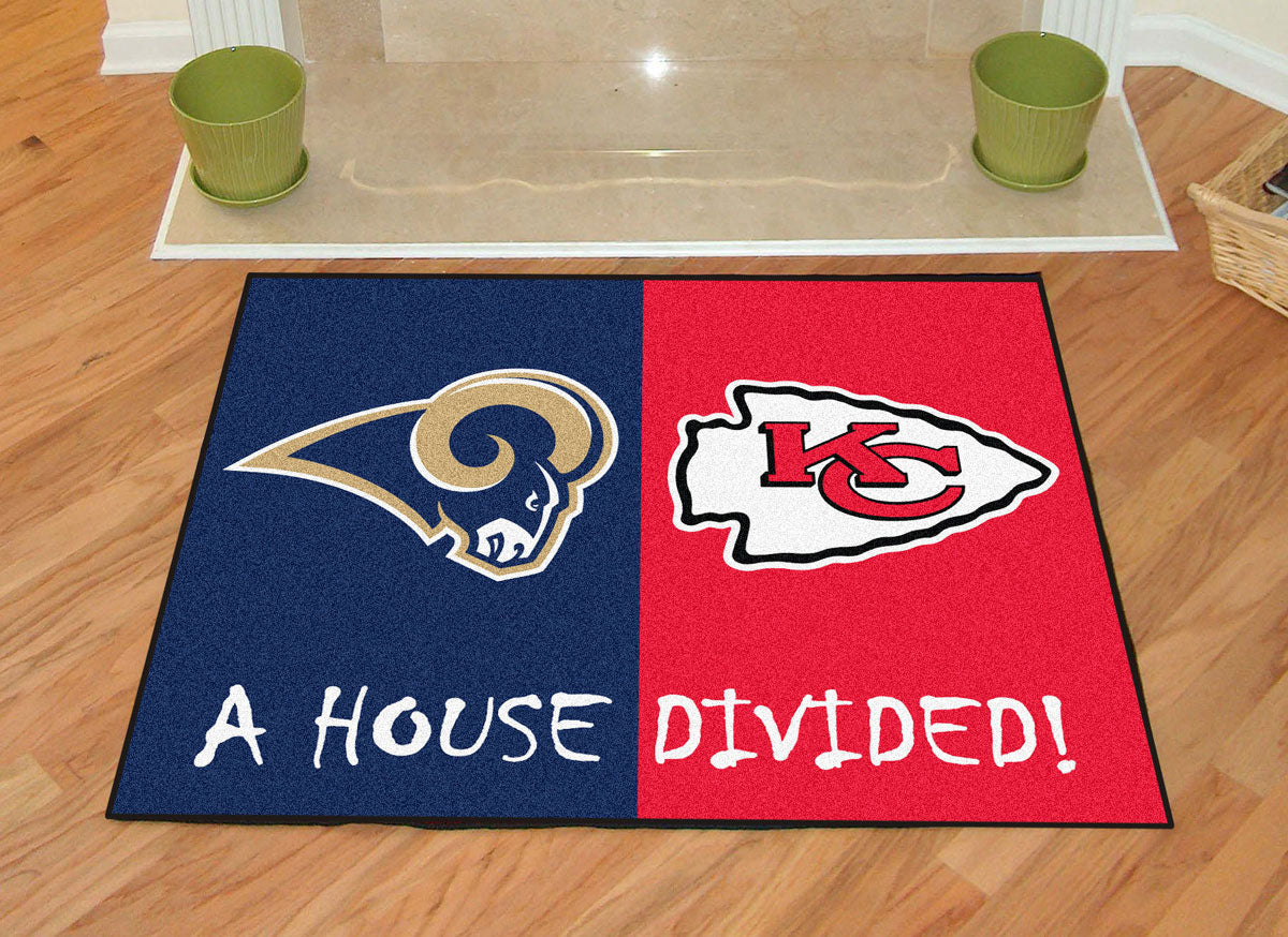 Nfl Rams Chiefs House Divided Accent Rug Obedding Com