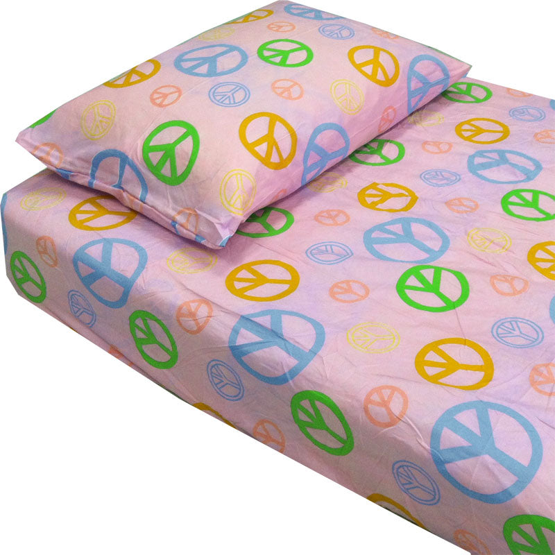 Peace Sign Bedroom Accessories: Pink Peace Signs Hippie Bedding Twin Single Bed Sheets Set