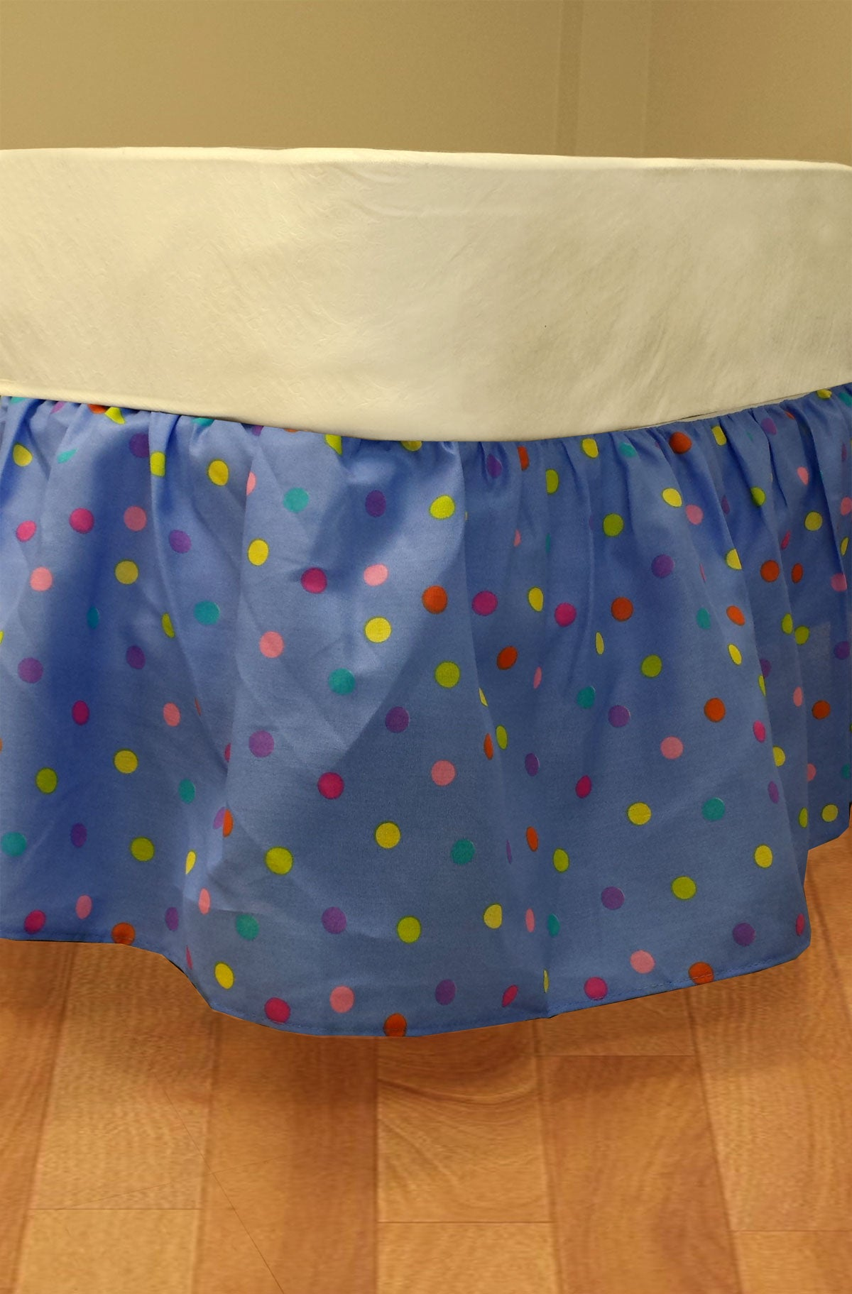 Multicolored Polka Dots Twin Bedskirt Blue Bedding
