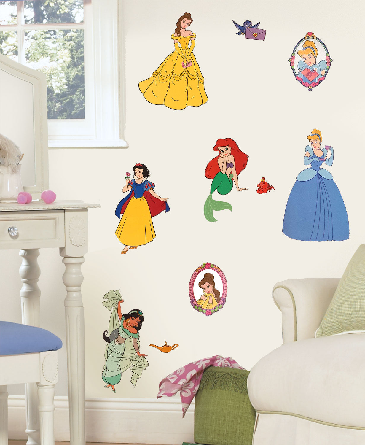 Disney princess stickers royal portraits wall decals obedding disney princess portraits wall stickers amipublicfo Image collections