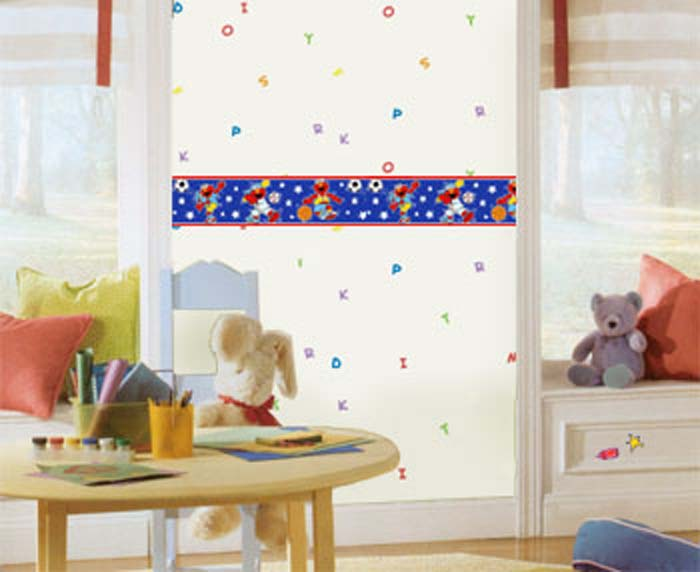 Sesame Street ABC Letters Prepasted Wallpaper Accent