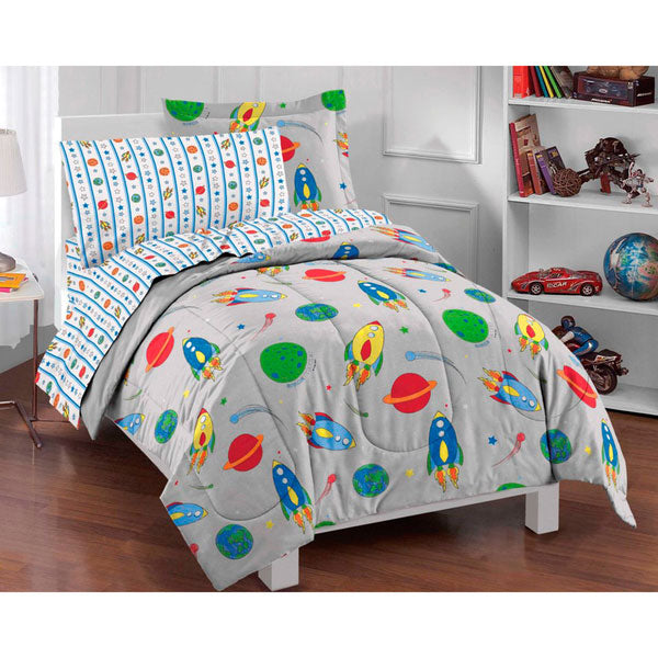 Space Rocket Ship Comforter Sheets Sham Twin Bedding