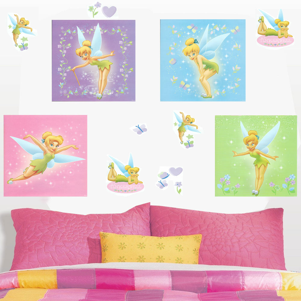 disney tinkerbell self stick 44pc wall sticker accent kit disney tinkerbell wall decor kits