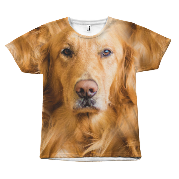 Golden Retriever Dog Face All Over Print Tee Shirt
