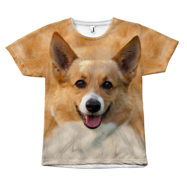 Corgi Dog Face All Over Print Tee Shirt