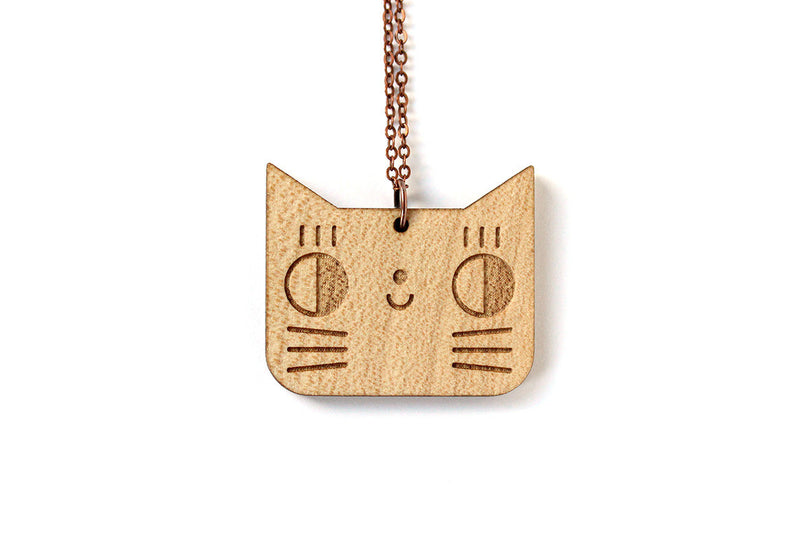Collier long Chat en bois - Hariet et Rosie