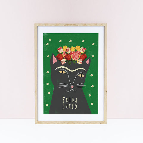Affiche chat Frida Catlo