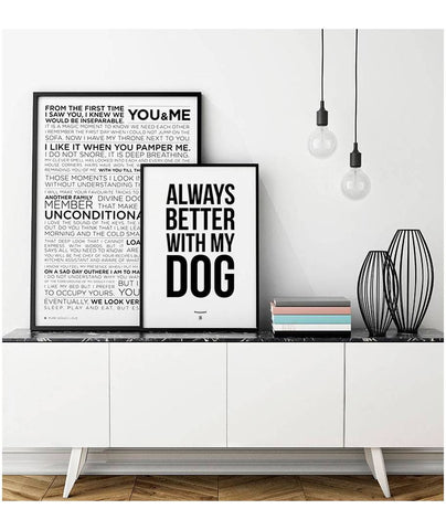 affiche d corative always better with my dog brott barcelona hariet rosie. Black Bedroom Furniture Sets. Home Design Ideas