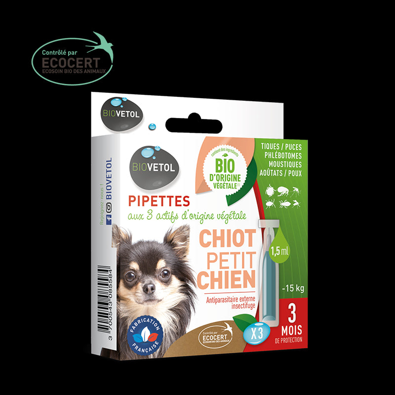 Pipettes insectifuges Biovetol chiots/petits chiens