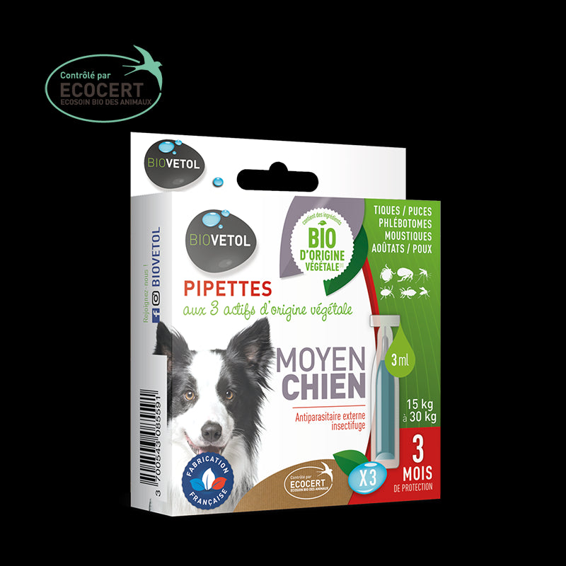 Pipettes insectifuges Biovetol chien moyen