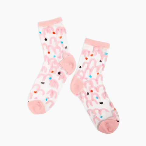Pink Arc Sheer Socks