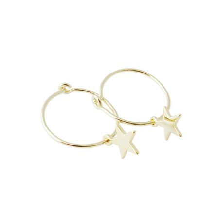 Star Charm Hoop Gold