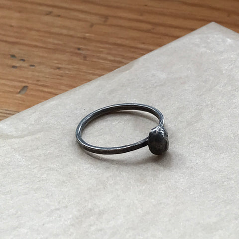 Blackened Silver Dot Ring