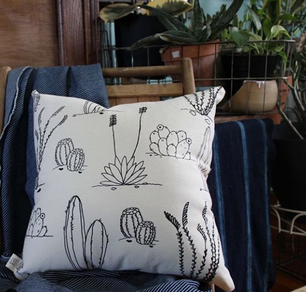 Desert Plants Pillow - Black Ink