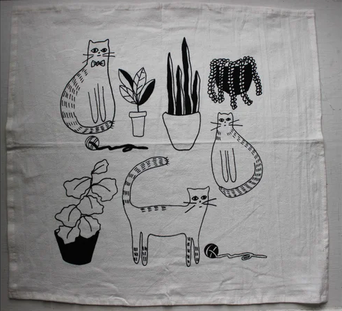 Cats & Plants Tea Towel
