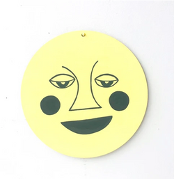 Moon Face Wall Charm - Yellow/Gray