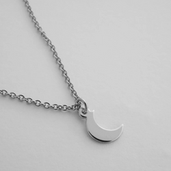 Silver Charm Necklace - Moon