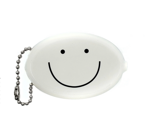 White Smiley Coin Wallet Keychain