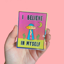 Holographic I Believe Sticker