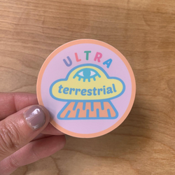 Ultra Terrestrial Space Ship Small Circle pastel sticker