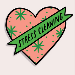 Stress Cleaning Heart Sticker