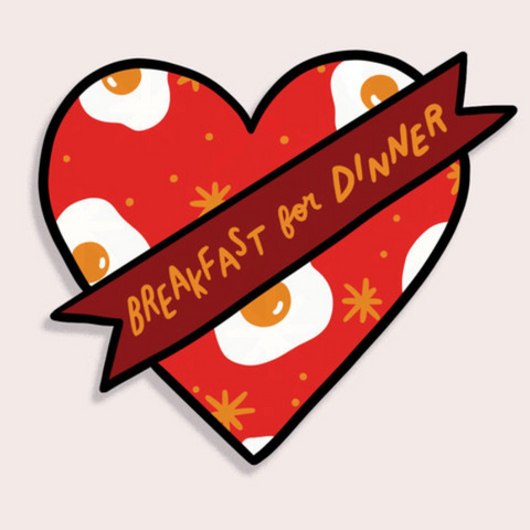 Breakfast for Dinner Heart Sticker