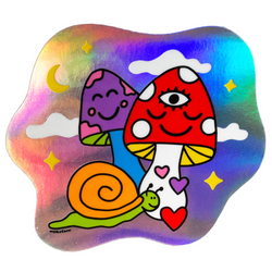 Cosmic Mushrooms Holographic Sticker
