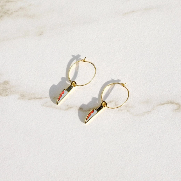 Bloody Knife Hoop Earrings