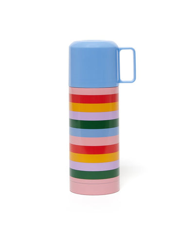 Thermal Mug With Cup - Rainbow Stripes