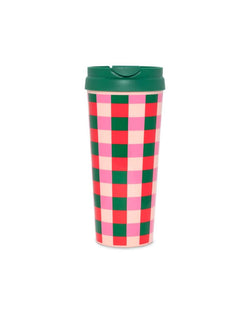 Thermal Mug - Pink & Green Checkered