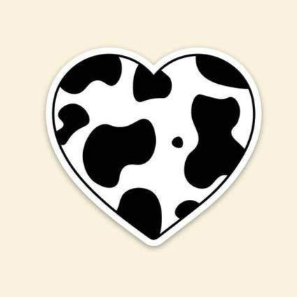 Cow Print Heart Sticker
