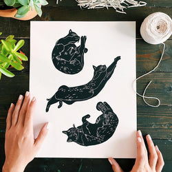 Stretchy Cat Print