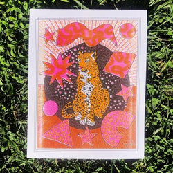 "Cosmic Cat 11"" by 14"" Risograph Print"