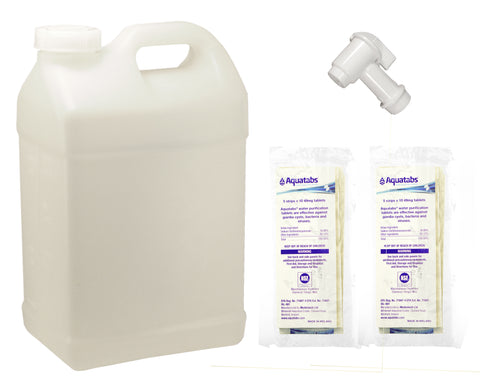 Water Treatment Kit with 2.5 Gallon Mix Measure and Dispensing Jug