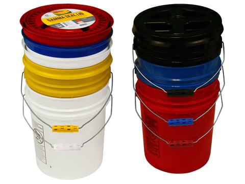 Assorted Color Buckets with matching Gamma Lids and Oversized Ergonomic Grips, 5 Pack