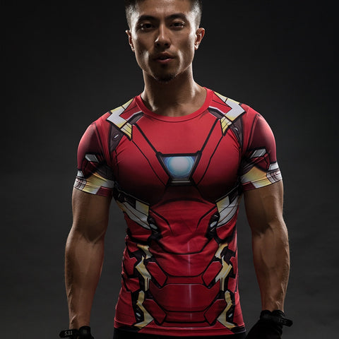 Men Marvel Avengers Iron Man 3D Compression Short Sleeve T-Shirt - Topmazing