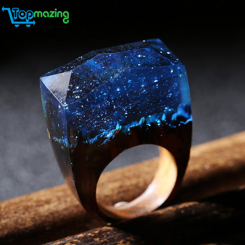 Unique Magical Snowy Night Handmade Ring