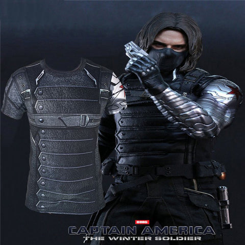 Winter Soldier Avengers 3D Compression Short Sleeve  T Shirts - Topmazing