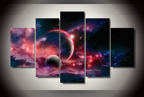 Fantasy Universe Planets Canvas (5 Pieces) - No Framed