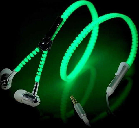 Cute Luminous Metal Zipper Earphone - Topmazing