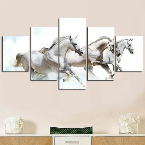 White Horses 5 Pieces Canvas Set - Topmazing