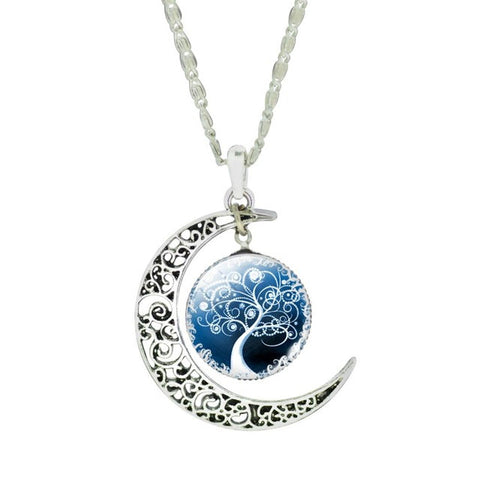 Fashionable Tree of Life Moon Pendant Necklace - Topmazing