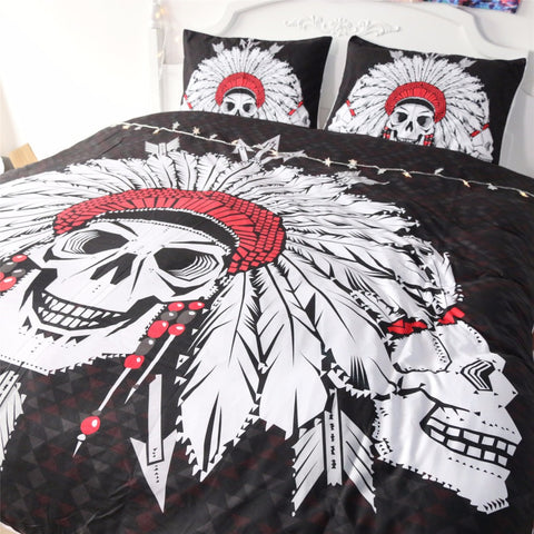 Cool Tribe Skulls Duvet Set - Topmazing